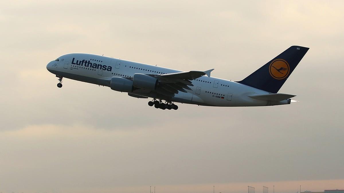 Lufthansa Airplane takes off
